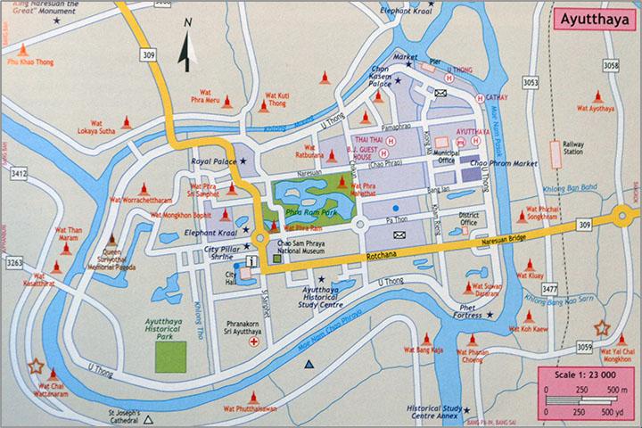Карта Аюттайи с указанием достопримечательностей.