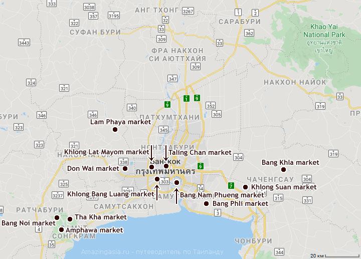 карта плавучих рынков Бангкока