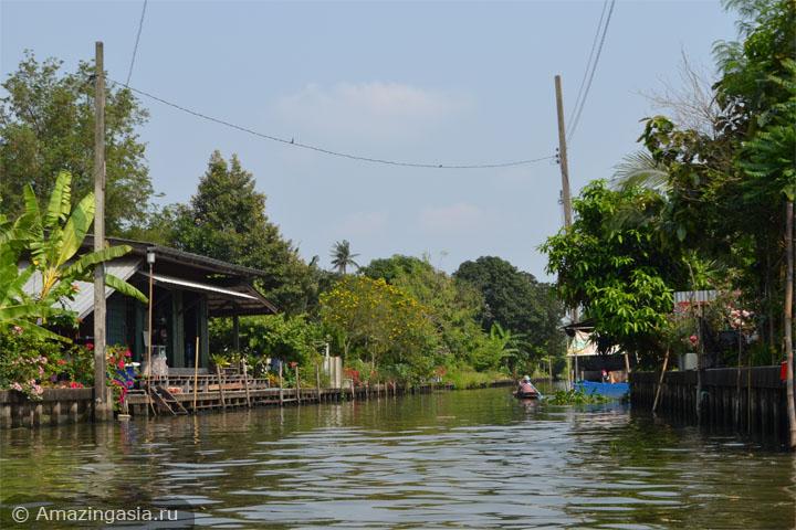 Экскурсии на лодках рынка Клонг Лат Майом (Khlong Lat Mayom floating market), Бангкок. Каналы рядом с рынком.