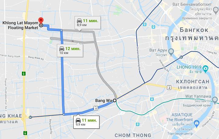 Плавучий рынок Клонг Лат Майом (Khlong Lat Mayom floating market) на карте Бангкока
