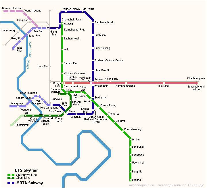 Ветка Сукхумвит Лайн на карте Бангкока