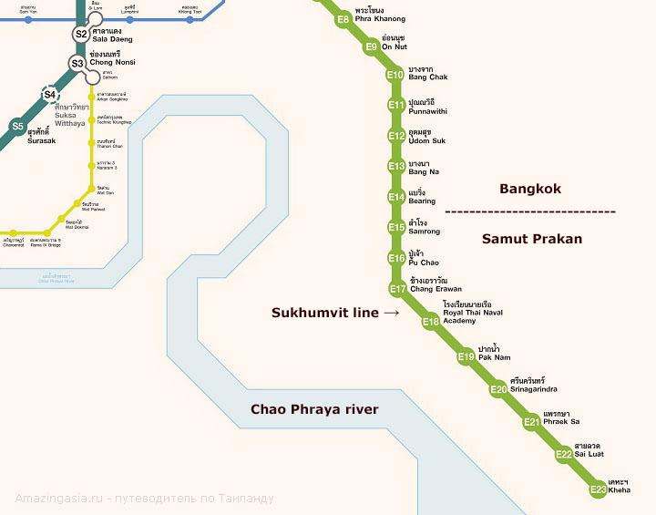 Как добраться из Бангкока в Самут Пракан (Samut Prakan). Схема метро в провинции Самутпракан.