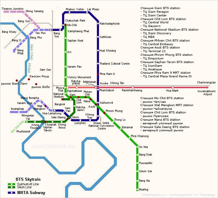 Как добраться до торговых центров Бангкока. Торговые центры на карте Бангкока.