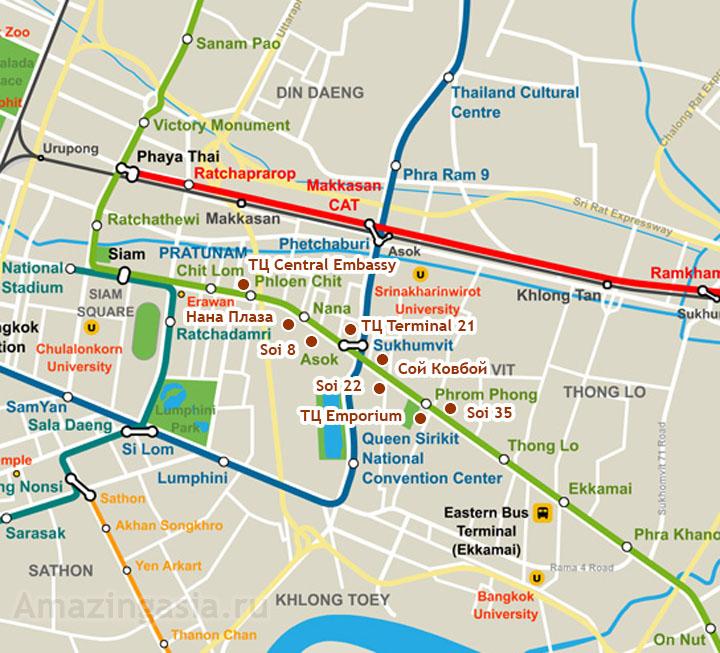 Достопримечательности Сукхумвит Роуд на карте Бангкока