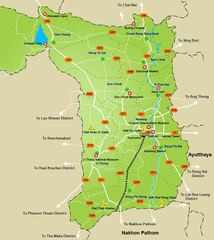 Suphanburi attractions map