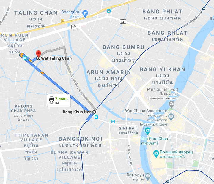 Плавучий рынок Талинг Чан (Taling Chan floating market) на карте Бангкока