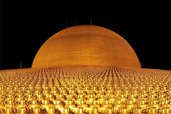 Золотые Будды храма Ват Пхра Дхаммакая (Wat Phra Dhammakaya), Бангкок