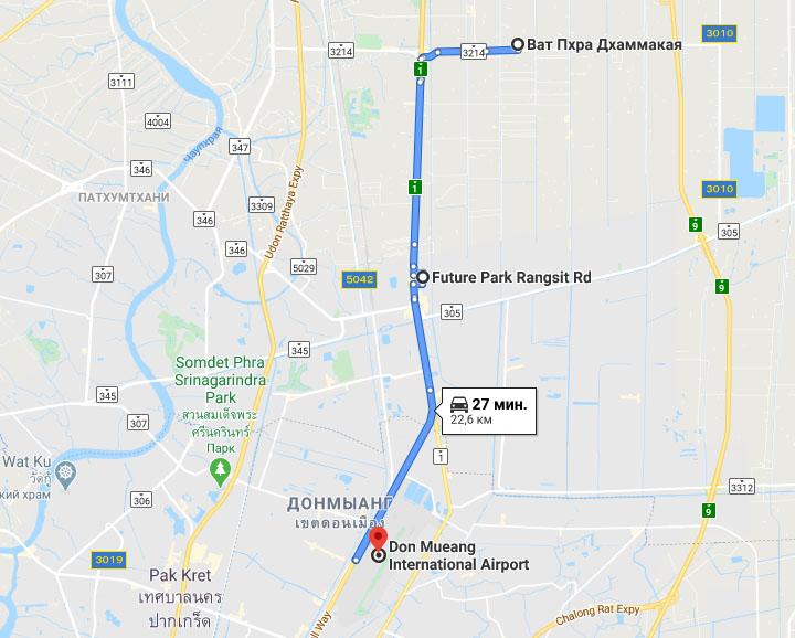 Храм Ват Пхра Дхаммакая (Wat Phra Dhammakaya) на карте Большого Бангкока