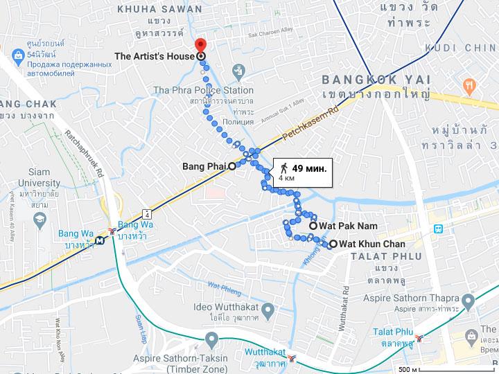 Храм Ват Пак Нам (Wat Pak Nam, Wat Paknam) на карте Бангкока