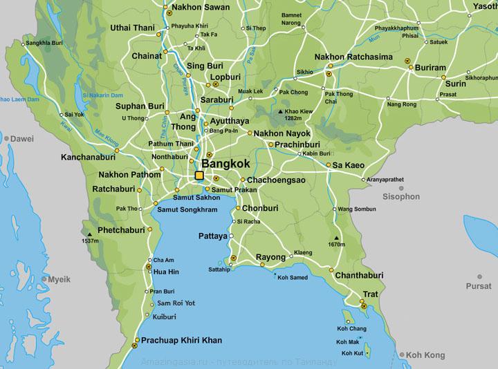 Город Прачуап Кхири Кхан на карте Таиланда