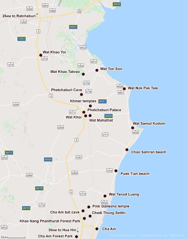 Карта окрестностей Ча Ама (Cha Am)