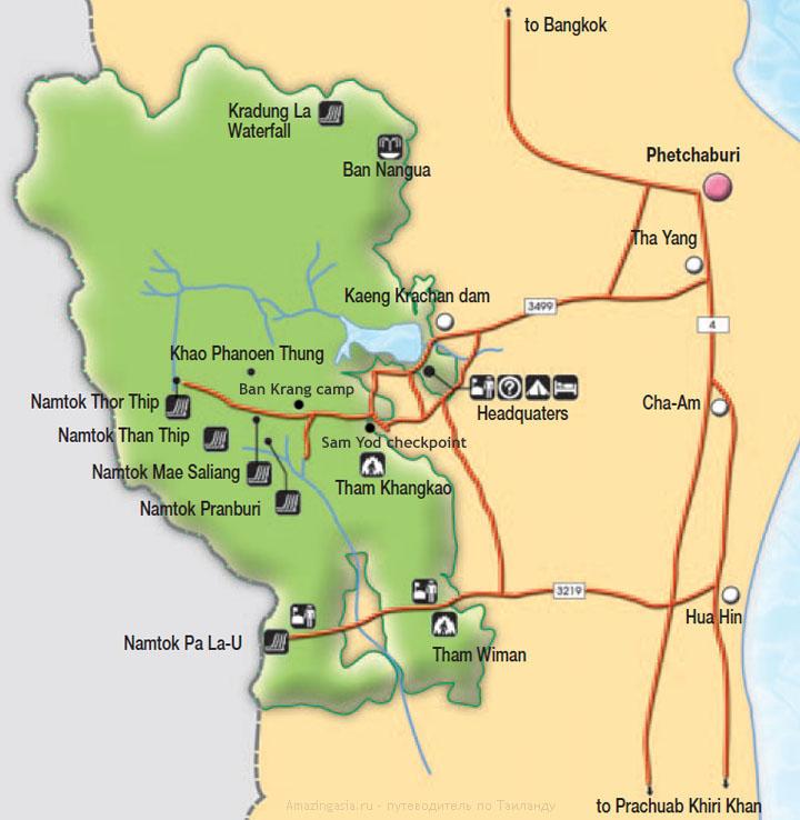 Карта национального парка Каенг Крачан