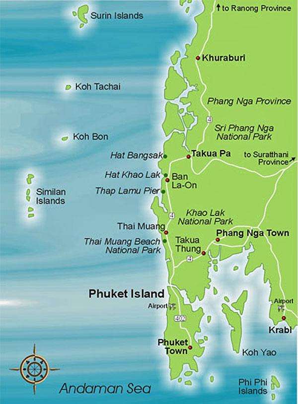 карта Пхукета и Као Лак