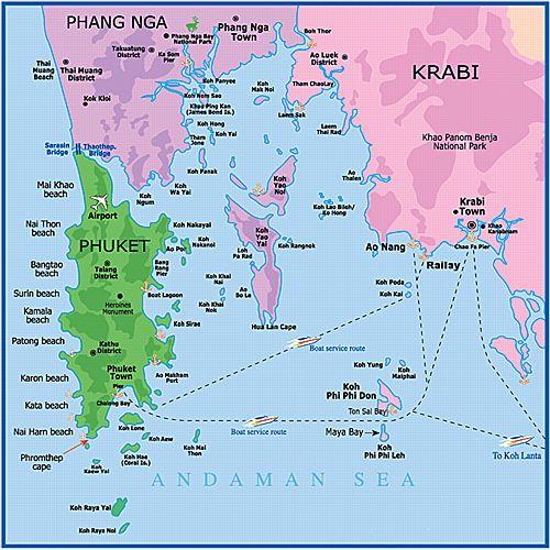 Карта провинции краби острова пхукет