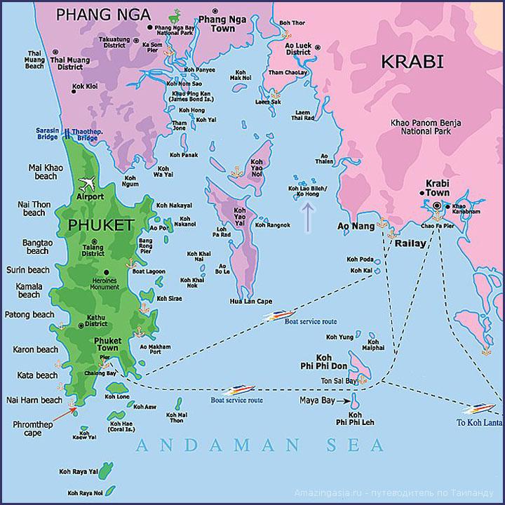 Остров Ко Хонг на карте Таиланда