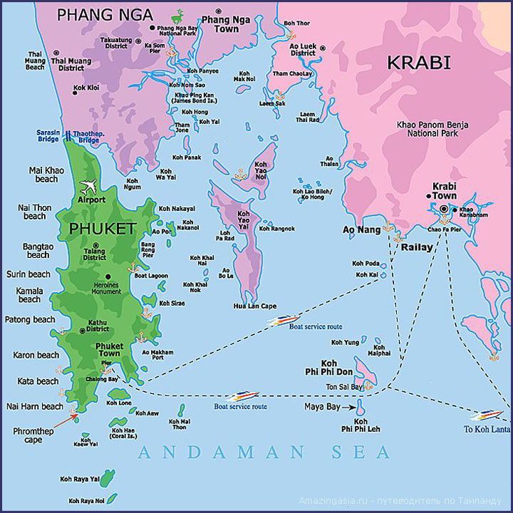 Полуостров Рейли на карте Таиланда