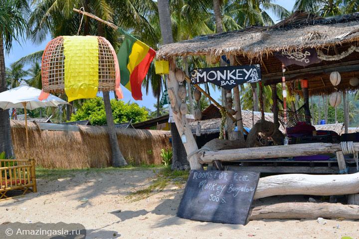 Дешёвые отели острова Ланта. Бич-фронт коттедж Monkey Bungalows, 500 бат за ночь.