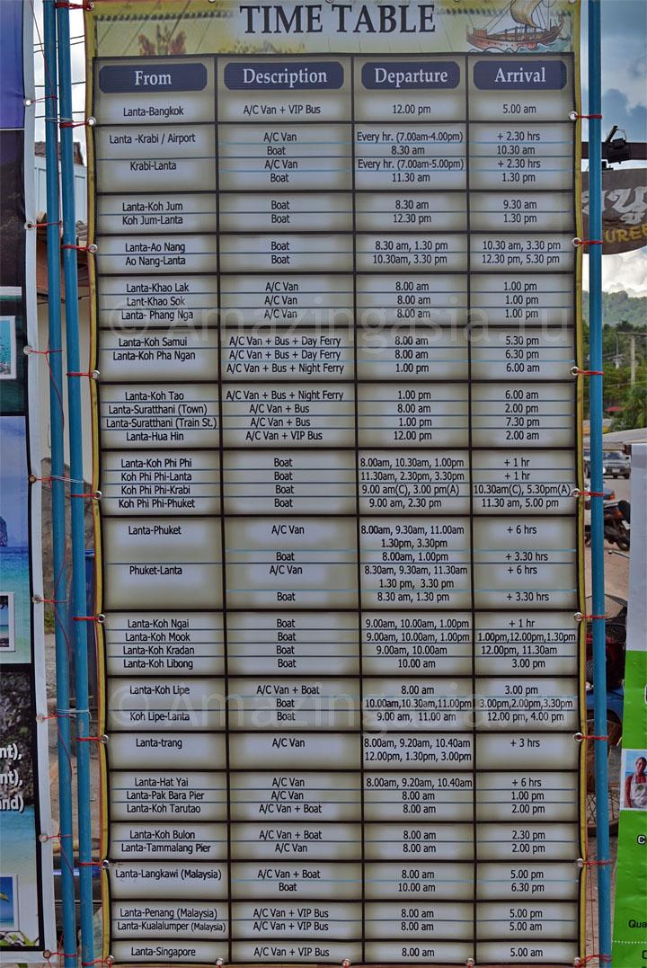 Расписание автобусов и кораблей на острове Ко Ланта