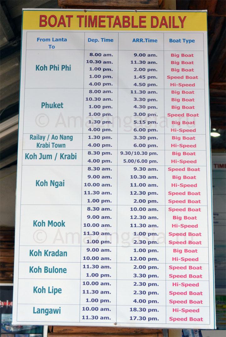 Расписание кораблей к островам Транг