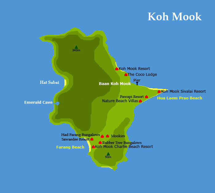 Карта острова Мук (Map Koh Mook)