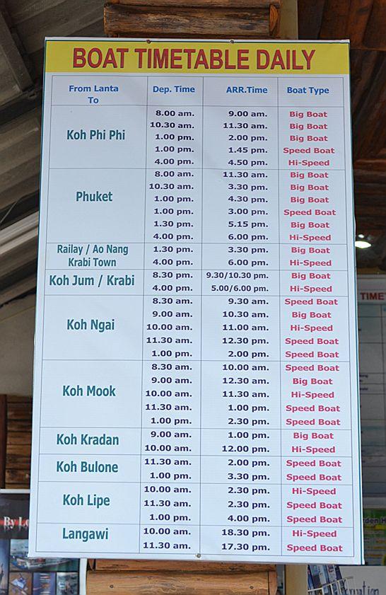 Расписание кораблей, отходящих от пирса Саладан (Saladan), остров Ланта