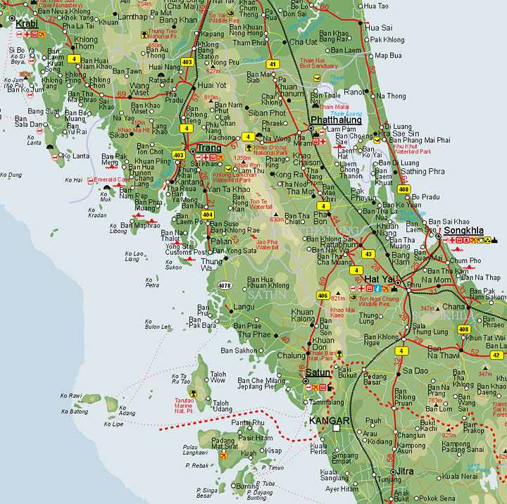 detailed map of south thailand - 720×716