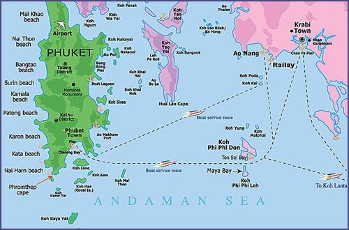 Карта Краби, Пхукета и островов Пхи Пхи