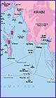 Карта провинции Краби и островов Пхи Пхи, Тайланд