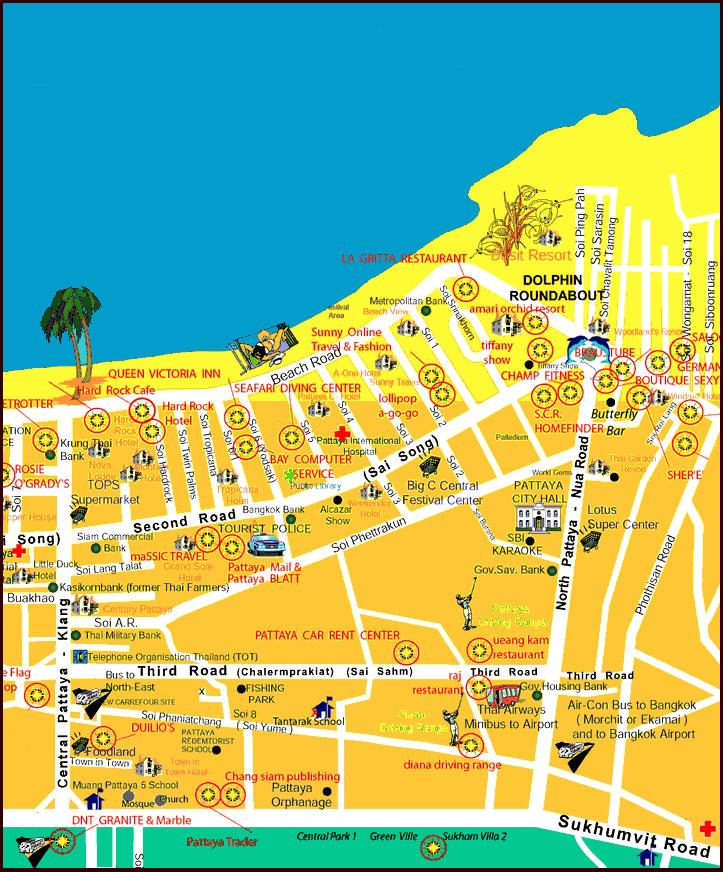 Карта автобусного терминала Паттайи