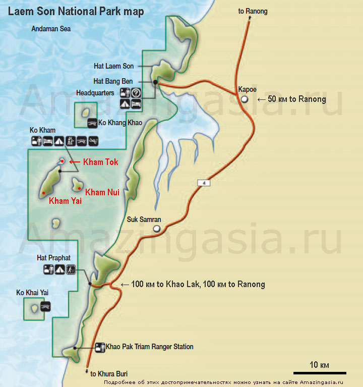 Laem Son (Laemson) national park map