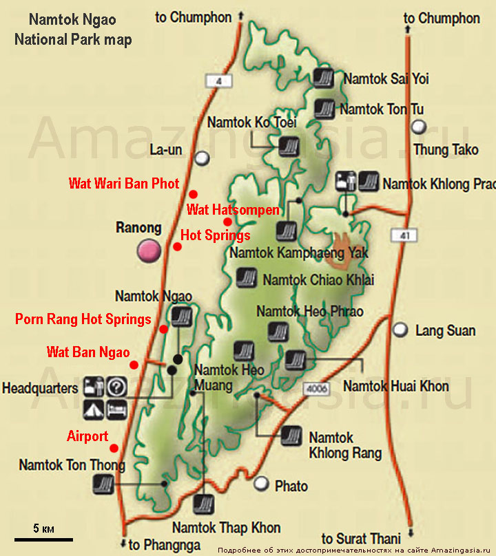 Namtok Ngao national park map