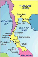 Ранонг (Ranong) и остров Паям (Phayam) на карте Тайланда