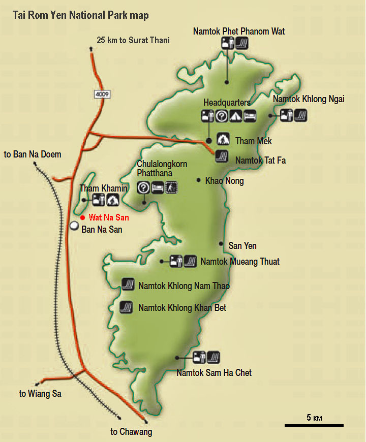 Tai Rom Yen national park map
