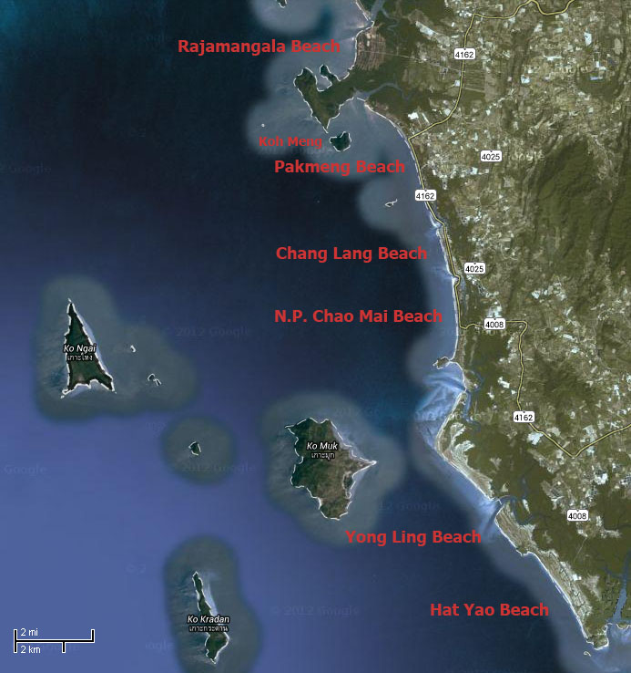 Trang Beaches map