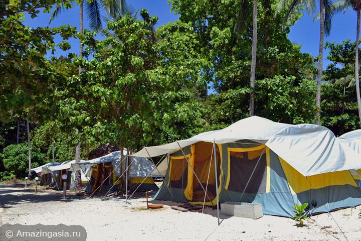 Острова Транг. Палаточный городок на острове Нгай.